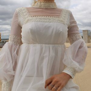 Vintage 1970s pure white crocheted wedding dress